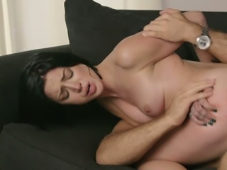 Petite raven haired cutie with big ass Stevie Foxx rides massive schlong furiously
