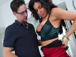 Nikki had to let this dude lick her boobs and eat out her hot snatch, or else she was going to be in trouble with her husband. If she didn't do as he said, he would blackmail her and tell her husband, how kinky she was.