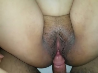 Shagging chubby Arab her in her hairy pussy missionary style