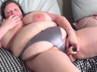 Chubby mature slag Katty A rams a toy in her wet cunt