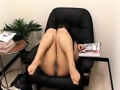 Horny Asian girls sit on chairs and masturbate while being