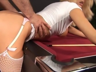 British pornstar Natasha Marley fucks old man on pool table