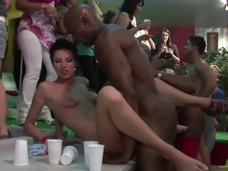 Cock sucking sluts in interracial group sex getting pounded