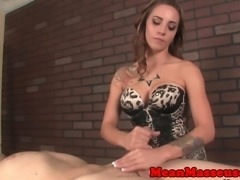 Pornstar Sasha Foxx giving mean handjob