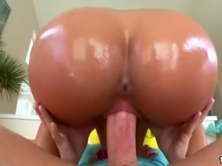 Big Oiled Booty Gia Steel Rides Huge Cock