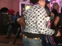 Dirty sluts flashing their boobies to strangers having much fun on a party