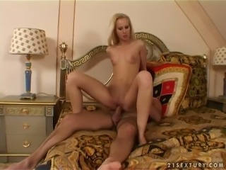 Leggy blond haired harlot with tight tits Cindy got her kitty banged in mish and reverse poses tough