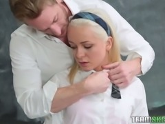 Teen skank Cleo Vixen fucked brutally in a doggy position