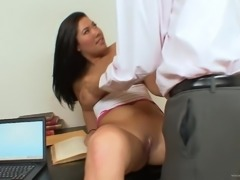 Cute Asian pornstar with a nice ass giving a superb blowjob before getting...