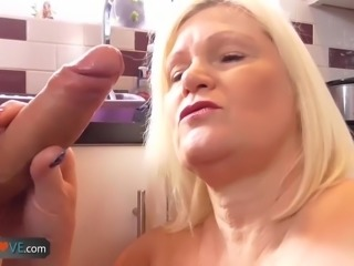 Nice blonde granny is fucked by horny man