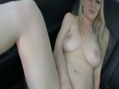 Nasty blonde skank gives head and serves her pussy on a back seat in my car