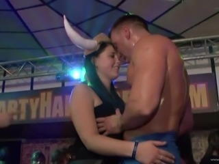 Hot blowjob scene with naughty porn hotties in nasty club banging