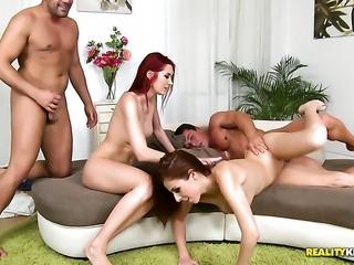 Brunette Kattie Gold licks Tonys vagina like
