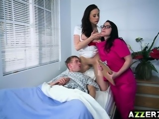 Hot doctor and nurse shares with a patients cock