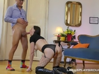 Kinky Lara rides an erected boner unti covered in sticky jizz