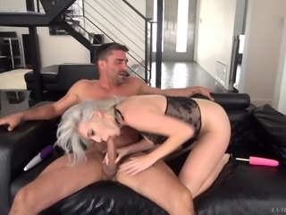 Naughty lady's mouth filled with sticky semen after a great fuck