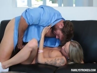 erotic blondie takes it deep from her stepsibling