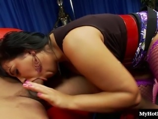 Latina maiden with big tits refining her guy with blowjob