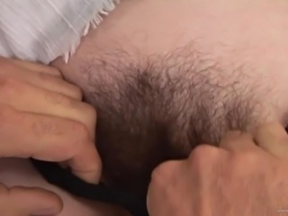 Exotic pornstar in a bra moaning while her hairy pussy is pounded hardcore