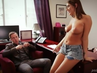 Her pussy became wet after seeing a handsome client and she decided to trap him. She became naked and showed him her sensitive parts. Her firm boobs and round ass made his cock hard and he didn't object horny babe's advances. Finally, she sucked his cock and he banged her pussy really fast.