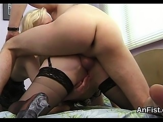 Horny lesbian honeys are opening up and fisting anal holes
