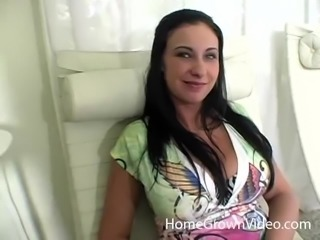 Brunette sex bomb with huge natural boobs rides an engorged prick