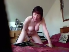 Awesome short haired wifey with naturally pale tits was masturbating on bed