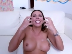 Perfect brunette covered for cum by two big cocks