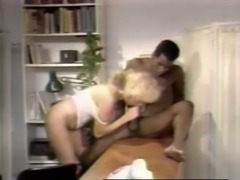 Cock hungry white blondie in white lingerie feeds on BBC