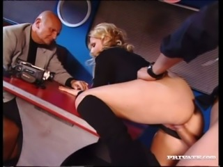 Sexy blonde Sandra Sunrise having dirty sex in the presence of her old cuckold husband