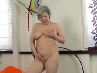 Chubby mature lady workout