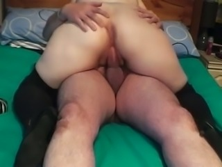 My plump wife wearing high boots rides my dick in homemade clip