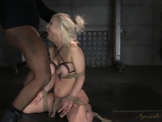 Erected cocks attack a blonde slave girl's wide mouth