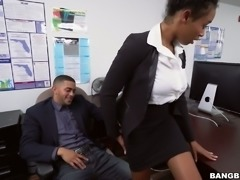 Ebony secretary Ivy Young fucked bad in the office