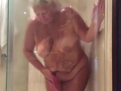 Fat woman in the shower
