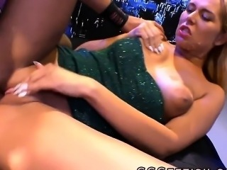 Cute blonde in gangbang with guys