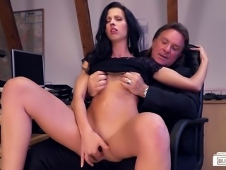 German secretary receives her boss's thick schlong and loves it