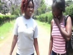 Busty African lesbians taking steaming hot shower