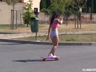 Nicole the sexy lesbian skating then enjoying getting drilled using toys