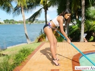Tanned sexpot Katalina Mills nailed passionately doggystyle