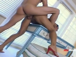 Curly brunette MILF Jade Davin sucks delicious fat cock with joy