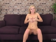 Beautiful blonde Summer toys her honey hole before fucking a hard dick