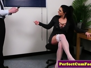 Busty office brit throating cock until facial