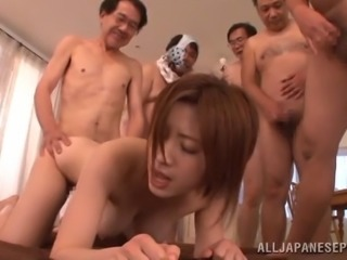 Devoted Japanese cowgirl with big tits delivering steamy blowjob before being gang banged