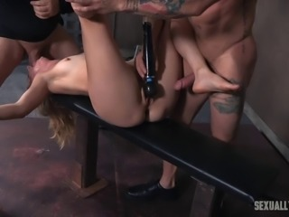 Babe face fucked hard while her pussy is being penetrated