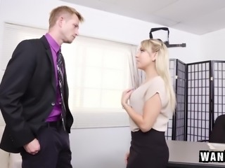 Hot blonde secretary Valerie White spreads her legs for her boss to keep her job