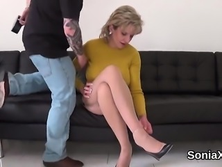 Adulterous english mature lady sonia showcases her giant kno