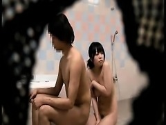 She gets undressed in the bathroom and washes a dude and ge