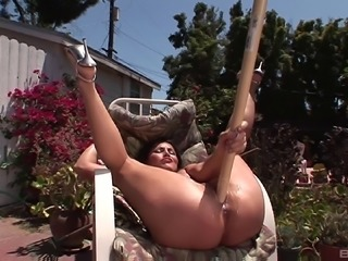 Slowly stroking her juicy muff before stuffing it with poles