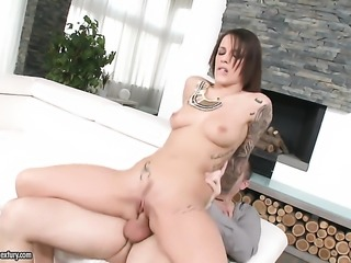 Brunette bares all and masturbates with toy